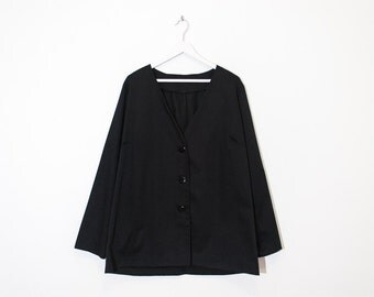 on sale - black oversized collarless blazer / loose lightweight button-up jacket / size XL