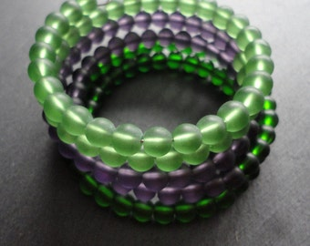 Braclet Glassbeads Unique green purple