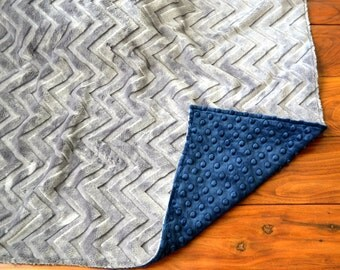 Blue and Gray Chevron Blanket - Ultra Soft Minky Blanket - Personalized Navy Blue and Charcoal Gray Baby Blanket