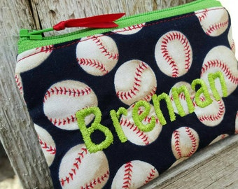 Baseball Coin Pouch, Personalized Boys Zipper Wallet