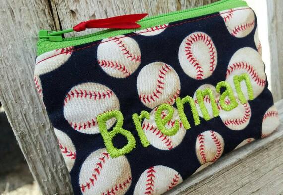 Baseball Coin Pouch, Personalized Boys Zipper Wallet