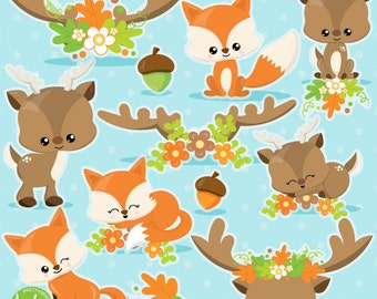 Fox clipart, Deer clipart commercial use, fall animals clipart vector graphics, antler clip art, Fall digital images - CL1027