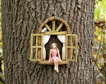 Window with sitting GIRL and bird - miniature garden accessory - Girl sitting in miniature window, accessory for fairy garden,