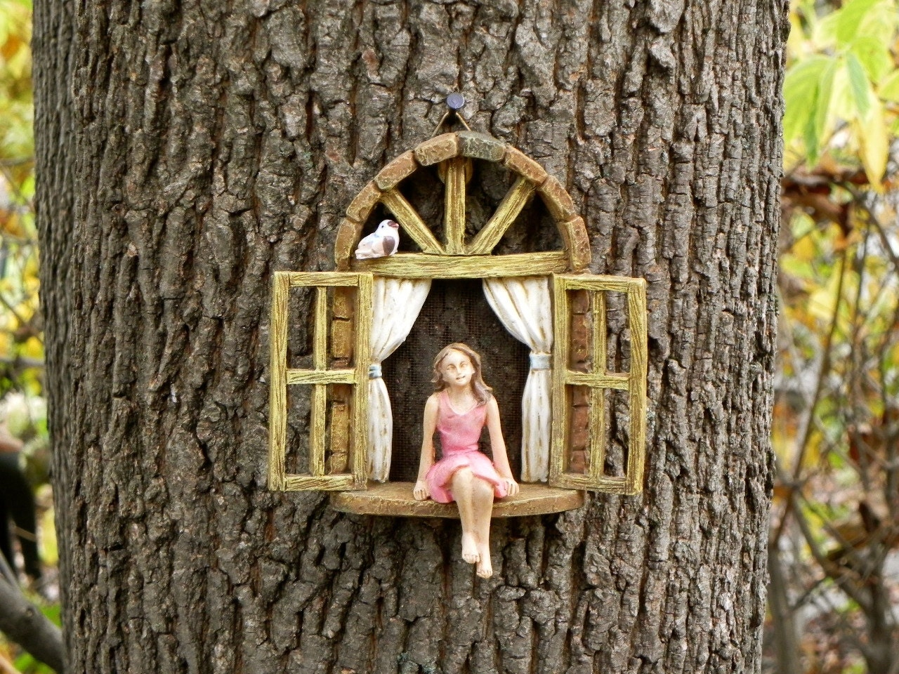 Fairy garden accessories window with sitting girl and bird for Outdoor fairy door