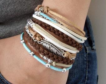 Handmade Bracelet, Stacked Boho Bracelet, Leather Brown Bracelet, Bohemian Bracelet, Suede Bracelet, Leather Bracelet, Boho Chic Jewelry