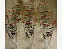 SALE Vintage 1950's Libbey Rock Sharpe  Crystal Glass Tumbler Horseless Carriage Pattern Beer Pilsner Lot of 12