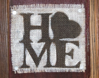 Red Wooden Rustic Burlap Home Sign