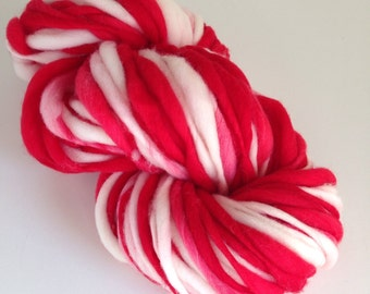 Handspun Thick and Thin Merino Wool Yarn - 50 yards - Candy Cane