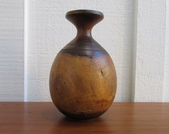 Vintage Wooden Vase with glass insert to hold flowers