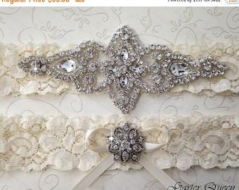 20% OFF BEST SELLER Ivory Lace Garter Set, Wedding Garter Set, Bridal garter Set, Rhinestone Garter, Lace Wedding Garter