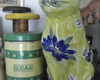SALE Splendid Large Yellow & Blue Hand Painted Cat Figurine , cat ornament, cat statue