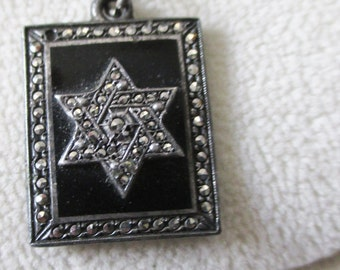 Antique Star of David pendant - Sterling silver and marcasite - Estate find!