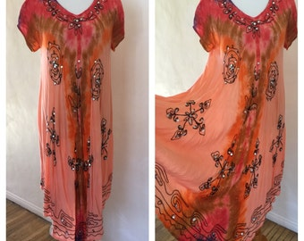 90s Vintage Indian Dress - Tie-Dye Ombre with Embroidery and Sequins - Hippie Dress