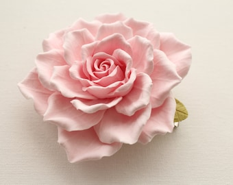 Сreamy pink rose.  Hair clip polymer clay flower.