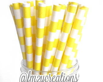 Yellow Circle Paper Straws, 25 Circle YELLOW Paper Straws, Cake Pops, Yellow Weddings, Yellow Baby Shower, Yellow Birthday Party, Diy Flags