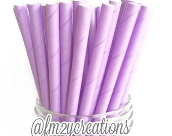 PAPER STRAWS, 25 Lavender Purple Paper Straws, Solid Purple Straws, Cake Pops,Purple Weddings, Birthday Party, Purple baby shower