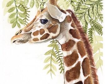 ORIGINAL Giraffe Watercolor Painting, Original Painting, Nursery Art, Animal Art, Giraffe Face, Orange Art, Jungle Art, Giraffe Painting