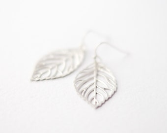 Delicate silver leaf earrings