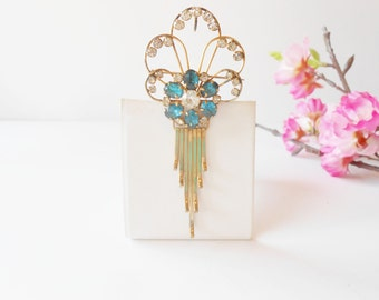 Brooch/Pendant, Art Deco Style, Turquoise Rhinestone, Rhinestone Brooch, Sparkly Brooch, Rhinestone Pin, 1940's, Costume Jewelry