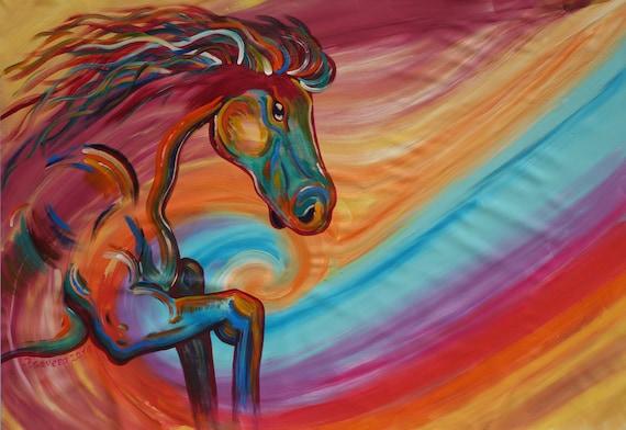 horse painting expressionism 110x160cm original by ksaveraart. Black Bedroom Furniture Sets. Home Design Ideas
