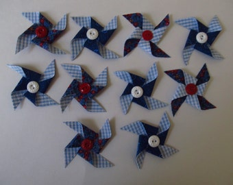 10 Fabric Pinwheels, Vintage Buttons, 3 Inches Across, Red, White, Blue