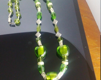 Green glass heart beaded necklace