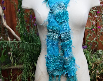 Beautiful Turquiose Hand Woven Scarf with Art Yarn and Hand Spun Yarn -Womans or Teen Scarf with Fringe ***OOAK***