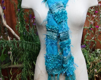 Beautiful Turquiose Hand Woven Scarf with Art Yarn and Hand Spun Yarn -Womans or Teen Scarf with Fringe ***OOAK***Gift for Her