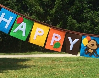 Felt Monkey Happy Birthday Banner-Monkey Birthday Banner-Monkey Banner-Monkey Birthday Party Banner-Felt Birthday Banner-Monkey Birthday