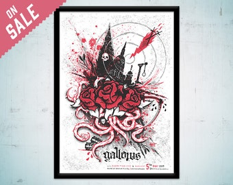 Gallows - limited edition silkscreen concert poster - official commemorative 'Grey Britain Tour' gig poster