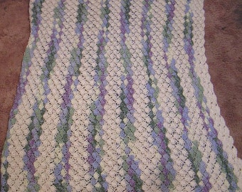 Lovely Vintage Crocheted Afghan in Colors of Pastel Green Blue Purple and White