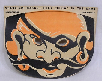 Vintage HALLOWEEN Paper Pirate Mask Scare-Em Mask Glow in the Dark