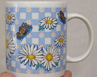 Vintage Coffee Mug Daisies and Butterflies on Blue Checked Background NICE!!