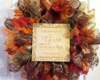 Thanksgiving Wreath/ Fall Wreath/ Fall Deco Mesh Wreath/  Fall Door Decor