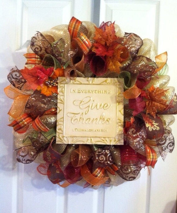 Welcome Your Guests This Thanksgiving With This Warm, Festive Wreath! It  Features Beautiful Glistening Fall Ribbon Along With A Pumpkin Pick And A  Metallic ...
