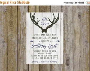 Oh Deer Baby Shower Invitation - Tribal and Arrow Baby Shower Invitation - Antler Invitation - Deer Invitation - Boy Baby Shower Invitation