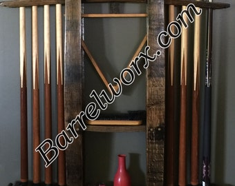 "36"" whiskey barrel stave pool cue stick wall mount rack"