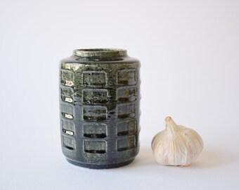 Palshus Denmark - cylindrical vase - bottle green - square decor - APL-S C7 - Danish mid century pottery