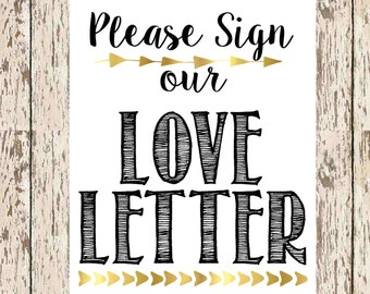 guest book printable Please Sign our love letter black and gold 8 x 10 bohemian guestbook print love letter signage guestbook for shower