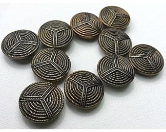 5 Atomic, Sputnik Era antiqued Gold Tone Brass Buttons, Modernist Buttons, Button lot 188