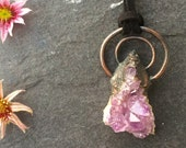 Amethyst Crystal Necklace -  Organic Stone Necklace - Raw Amethyst Pendant - Healing Crystal Necklace - Electroformed Necklace