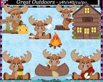 Great Outdoors Moose Digital Clip Art Set - INSTANT DOWNLOAD - Scrapbooking Craft Clipart Elements