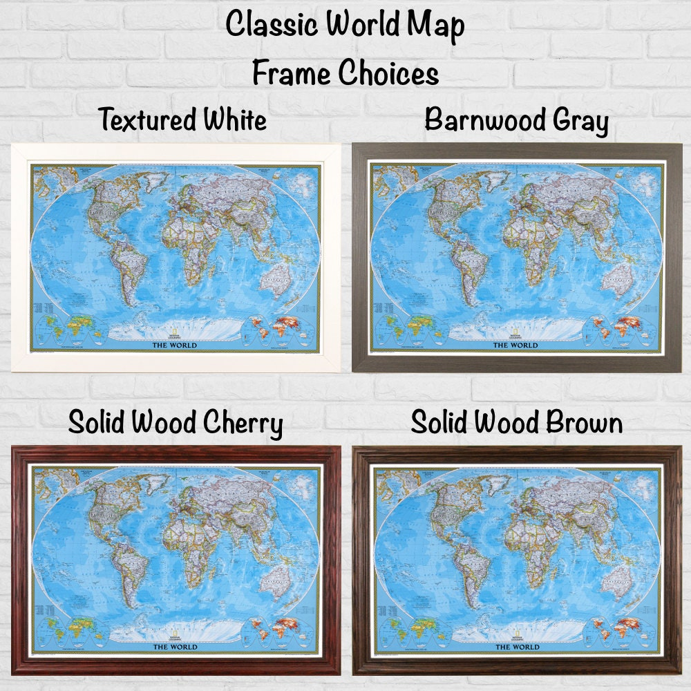 classic world travel map with pins and frame by pushpintravelmaps. Black Bedroom Furniture Sets. Home Design Ideas