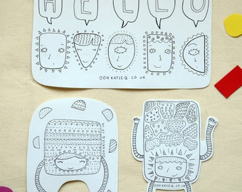 cute illustrated black and white sticker pack