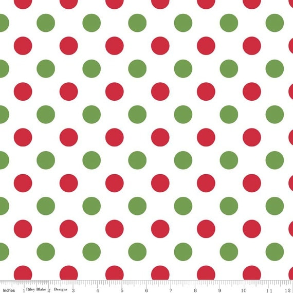 Christmas Red/ White/ Green Medium Dot by Riley Blake C490-07 from ...