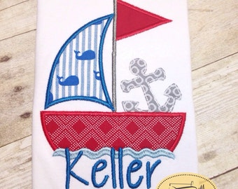 Sailboat Anchor Nautical patriotic red white blue. Summer. Fourth.