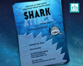 Shark Invitation, Shark Birthday Invitation, Pool Party, Shark Attack Invitation, Shark Party, Shark Pool Party - Digital Printable
