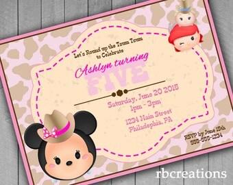 Cowgirl Invitation, Cowgirl Tsum Tsum Invitation, Tsum Tsum Party, Tsum Tsum Invitation, Minnie Mouse Invitation - Digital Printable