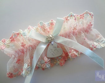 Personalised Embroidered Lace Wedding Garter with Rhinestone and heart - with something blue