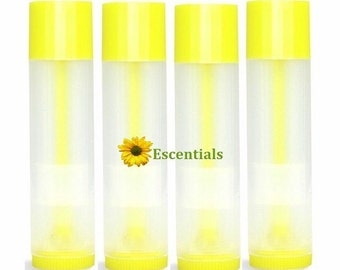 Natural Lip Balm Tube w/ Lemon Yellow Cap and Turn - 10 Pack